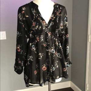 American Rag Sheer Floral Button Front Blouse